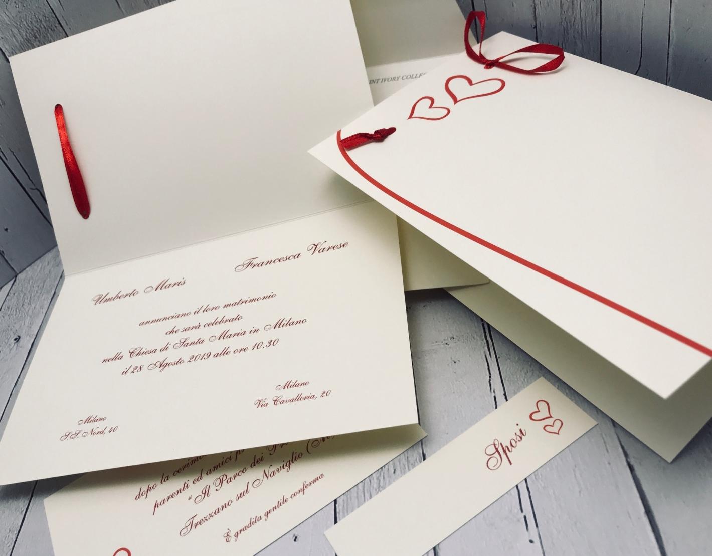 Partecipazioni Matrimonio Con Fiocco.Partecipazioni Matrimonio Con Fiocco Rosso