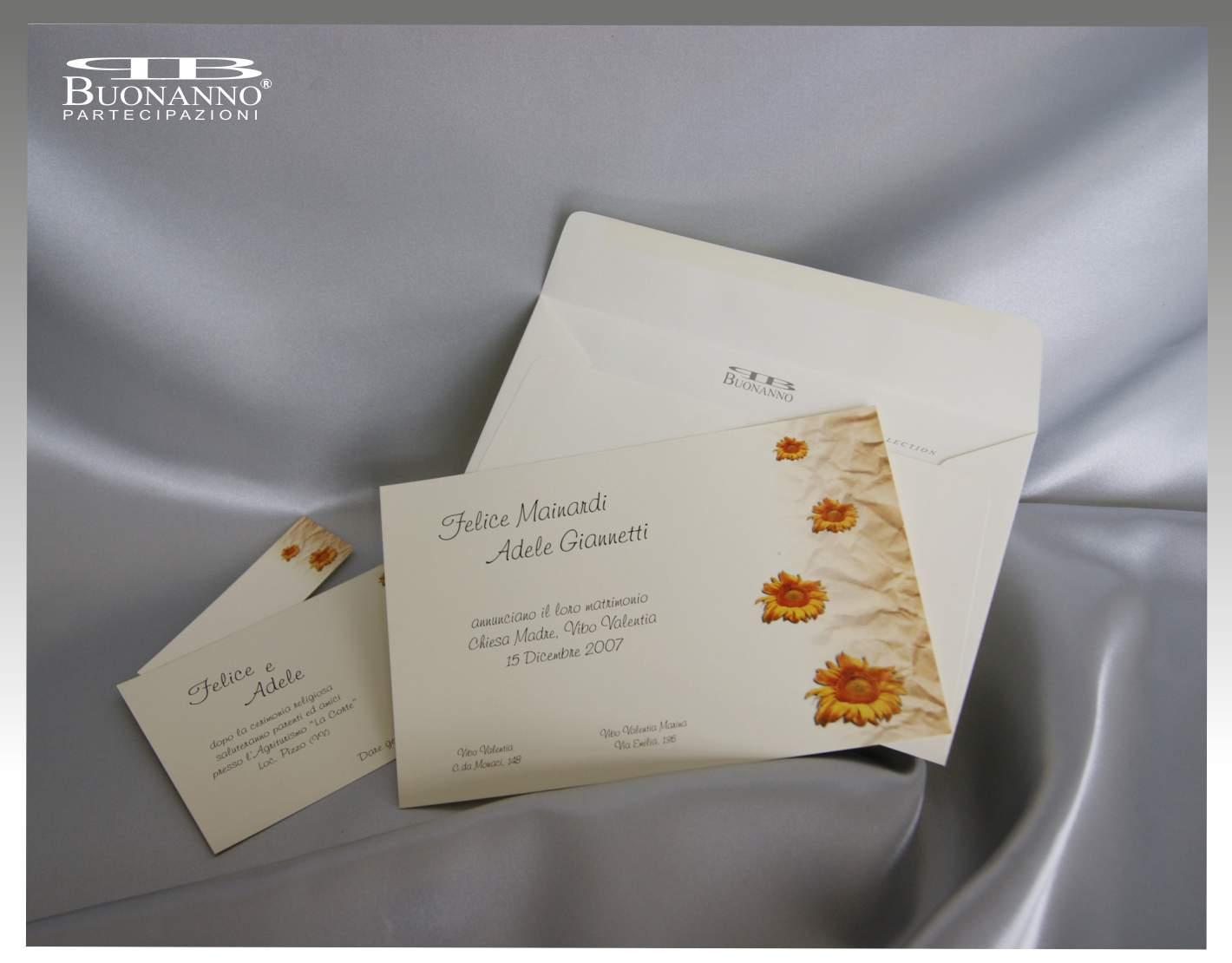 Partecipazioni Matrimonio Girasoli : Partecipazioni sposi con girasoli