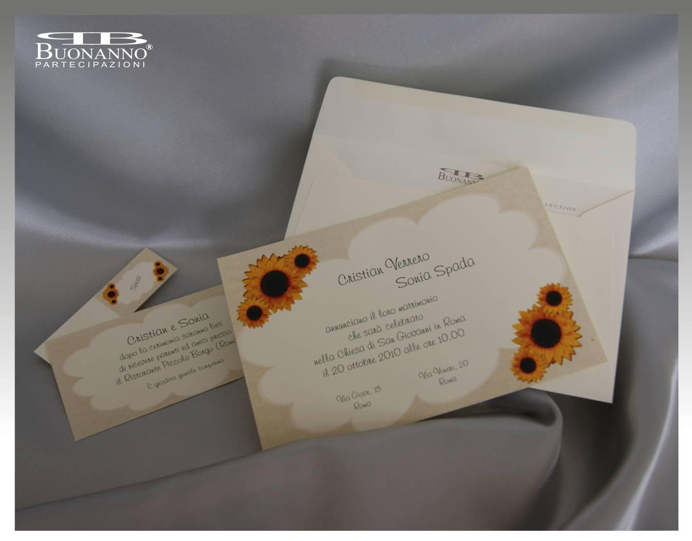 Partecipazione Matrimonio Girasoli : Inviti matrimonio con girasoli