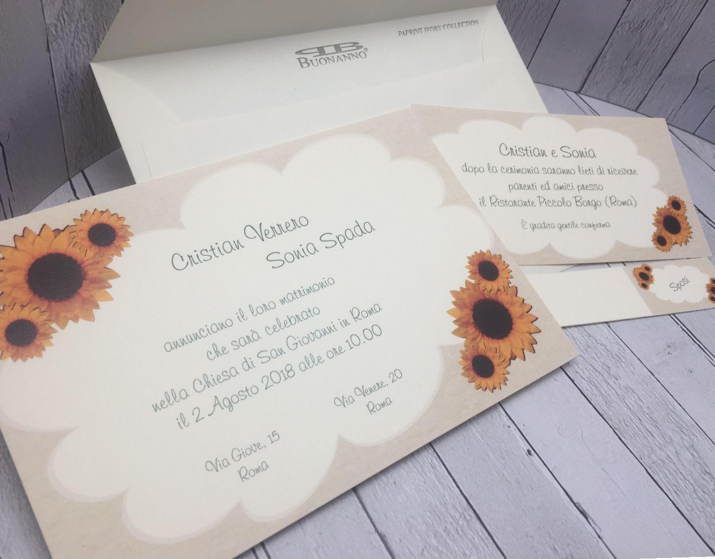 Partecipazioni Matrimonio Con Girasoli : Inviti matrimonio con girasoli